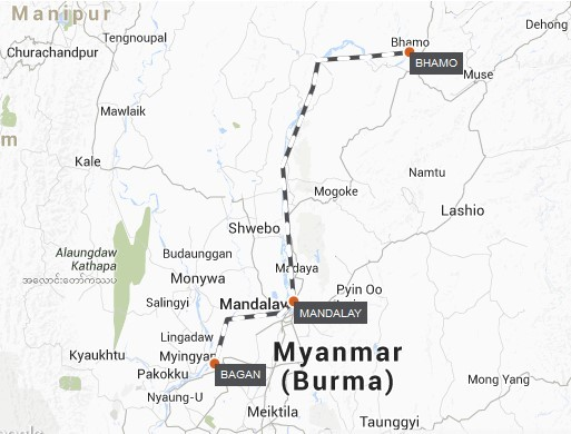 Myanmar River Cruise – Gorges of the Far North Route Map