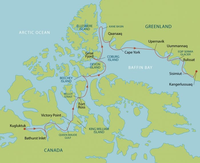 Arctic Cruise – Northwest Passage Route Map