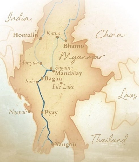 Myanmar & the Irrawaddy River Route Map
