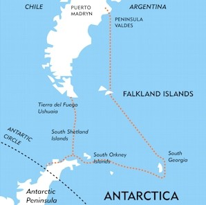 Antarctica, Falklands and South Georgia Route Map