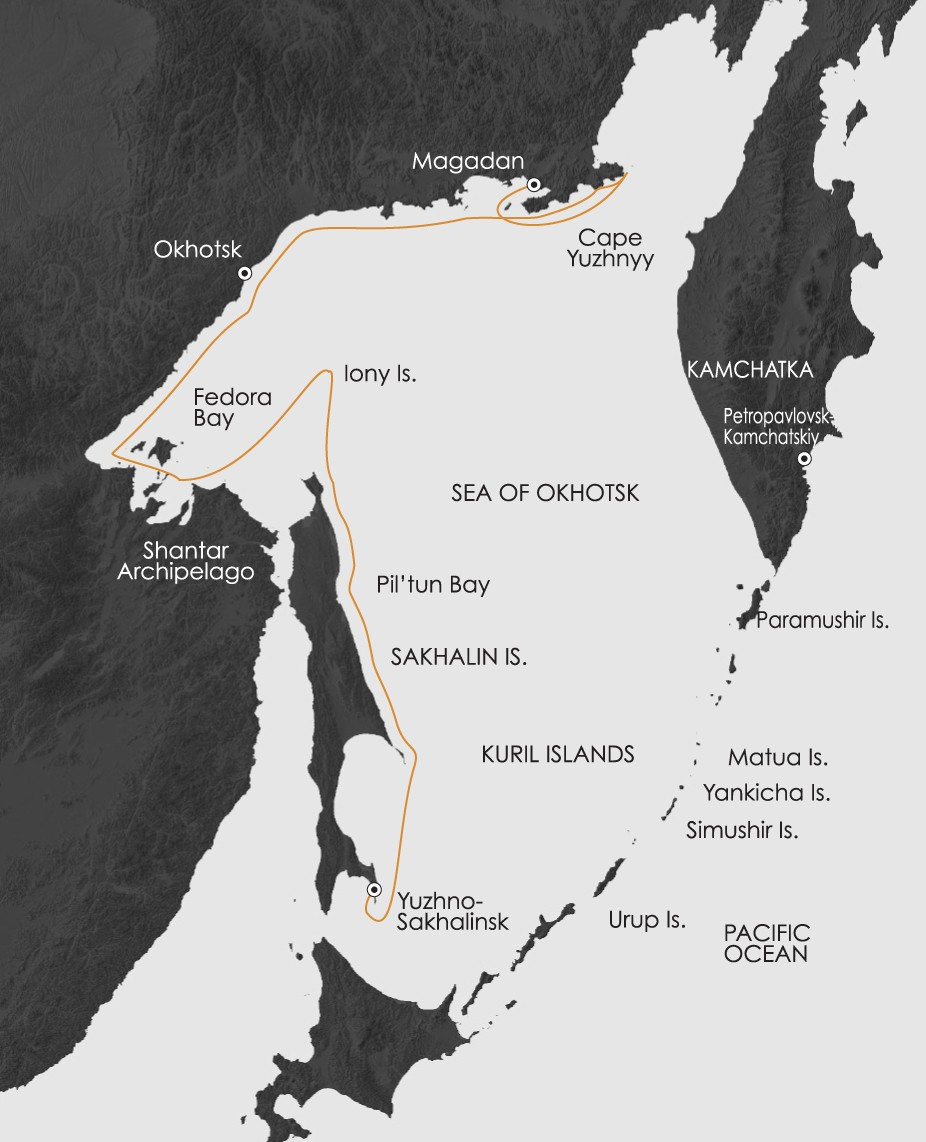 Okhotsk & Sakhalin: Sea of Okhotsk Route Map